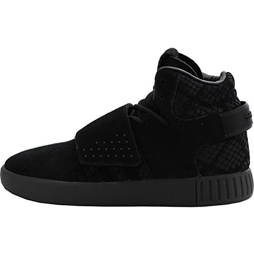adidas Originals Tubular Invader Strap C Black Leather Junior Trainers Black