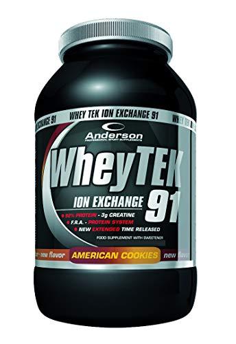 Integratore anderson whey tek 91 | proteine del siero isolate e concentrate | caseine | vitamine e creatina | naturalmente ricco di aminoacidi ramificati bcaa utili per crescita e massa muscolare | 800g american cookies