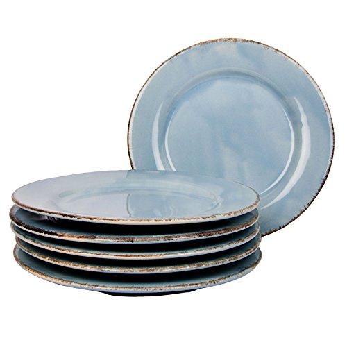 Gina Da Dessertteller Tosca Ø 22 cm Keramik Teller Servierteller Frühstücksteller Dessertteller Flacher Speiseteller Geschirr Landhaus Shabby (Hellblau [6er-Set])