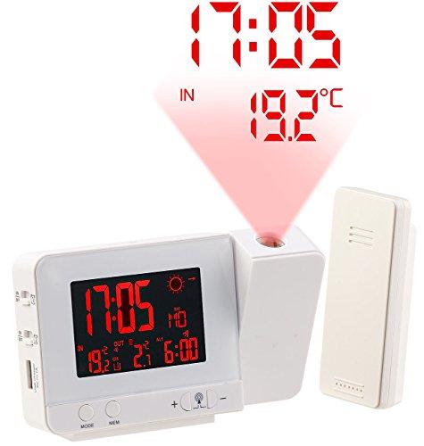 infactory Funk Projektionswecker: Funk-Wetterstation mit Projektions-Wecker, Außensensor und USB, weiß (Thermometer und Uhr)