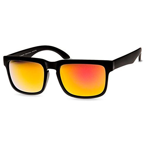Caspar SG018 Unisex RETRO Design Brille/Sonnenbrille mit gefrostetem Rahmen, Farbe:komplett schwarz/gold verspiegelt