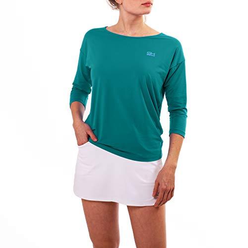Sportkind Mädchen & Damen Tennis, Fitness, Sport 3/4 Loose Fit Shirt, Petrol grün, Gr. L