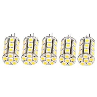 CroLED® 5 X G4 Ampoule Spot 5050 SMD 24 LEDs Blanc Chaud 2700-3500K 12-30V