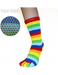 TOETOE chaussettes anti dérapantes mi mollet rayures arc en ciel