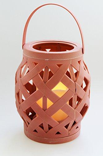 Wandleuchte Wachs Kerze (Kamaca Romantisch dekorative LED Laterne BEACH 16 cm x 13,5 cm - mit LED - Kerze - für Innen und Außen - Bereich - OUTDOOR - erhältlich in 3 tollen Farben - NEU SHOP (Dusty Coral))