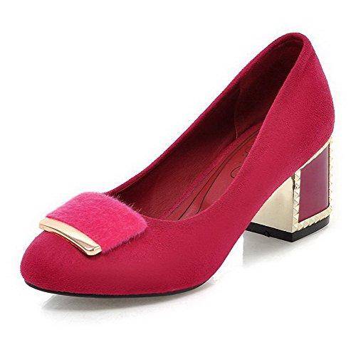 AgooLar Femme Couleur Unie Suédé à Talon Correct Rond Tire Chaussures Légeres Cramoisi