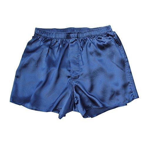Jasmine Silk Herren 100% Seide KURZE / Pyjama Böden / Schlafanzughose Pyjamahose kurz/ Thermoregulierende und atmungsaktive Funktions-Nachtwäsche Marine Medium (33-35) -