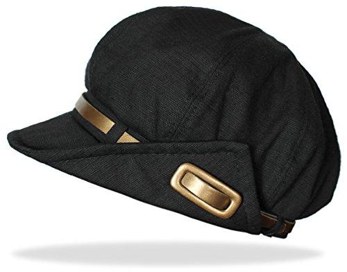 dy_mode Elegante Damen Mütze Ballonmütze Damenhut Schirmmütze - A044 (A044-Schwarz)