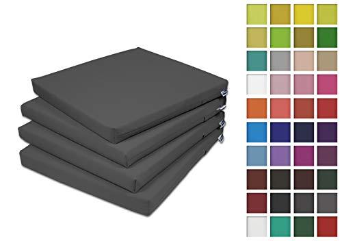 Rollmayer 4er Set Stuhlkissen Stuhlauflage Sitzkissen Sitzpolster Auflage für Stühle in Haus und Garten Kollektion Vivid (Dunkel Grafit 61, 40x40x4cm)