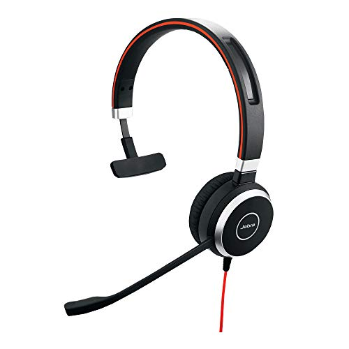 Jabra Evolve 40 UC Mono-Kabel-Headset mit USB und 3,5mm-Klinke für Unified Communications an PC/Laptop/Smartphone/Tablet, Busylight