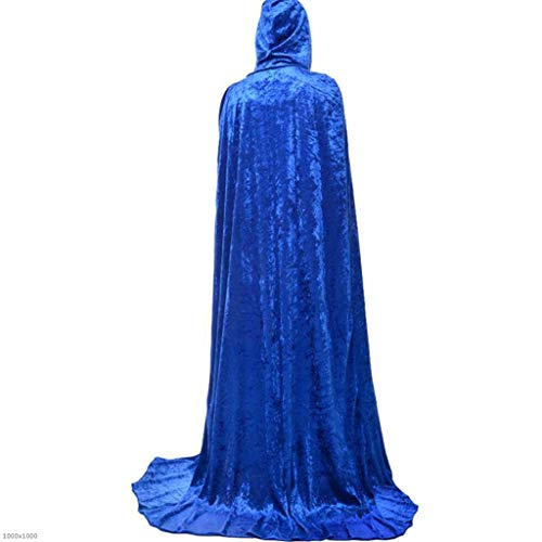 enbekleidung Black Fleece Men Es Hat Cloak Kostüm Erwachsene Cos Death Cloak Vampire,Blue,150Cm ()