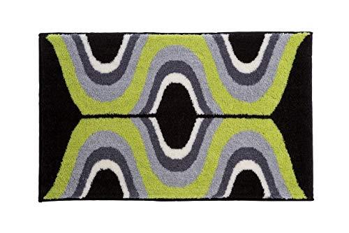 Grund KARIM RASHID Exklusiver Designer Badteppich 100% Polyacryl, ultra soft, rutschfest, ÖKO-TEX-zertifiziert, 5 Jahre Garantie, KARIM 18, Badematte 70x120 cm, grün