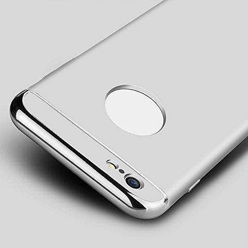 Hard Case Handyhülle für Apple iPhone 6 / 6S 4,7 Zoll - Yihya [Galvanotechnik Metall] Schutzhülle Luxus Electroplate PC Hart Back Cover Ultra Dünne Stoßfest Armor Hülle Bumper Skin - Schwarz(Black) Silber