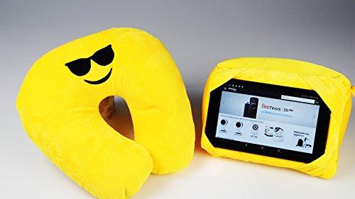 Unbekannt IKO 3 in 1 Nackenhörnchen Nackenkissen Nackenstütze Tablet Halter Emoji/Emotion mit Softplüsch Bezug universell einsetzbar für zu Hause und Reise (mit Sonnenbrille)