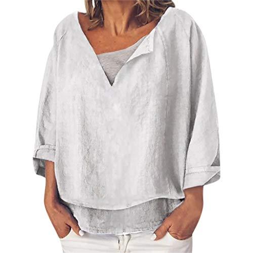 iYmitz 3/4-Arm Damen Streetwear Einfarbig Rundausschnitt Leinen Frauen Freizeit Bluse Sommer Freizeithemd(Z8-Weiß,EU-40/CN-L) -