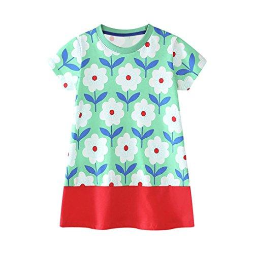 – 6-jährige Mädchen von Janly® - Mädchenkleid mit gezeichnetem Blumenmuster, Sommer- und Strandkleid für Kleinkinder, grün, 5-6 Jahre (Halloween Kostüme Für 11 12 Jährige)