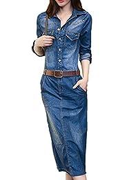 1ba51596bb93 Bevalsa Damen Jeanskleid Frauen Langarm Slim Denim Jeans skirt Party  Minikleid Jeans bluse Frühling Sommer Elegant Bodycon Jeanskleid…