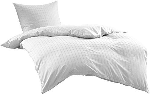Bettwaesche-mit-Stil Mako Satin Damast Streifen Bettwäsche Garnitur Lima gestreift mit Reißverschluss (Weiß, 155 x 220 + 80 x 80)