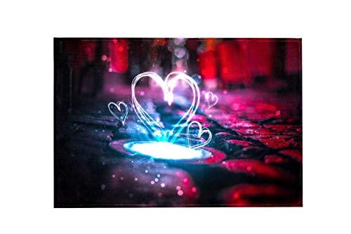 Preisvergleich Produktbild Wamnu Heart Love Creative Neon Red Blue Large Area RugsDirty Children's Carpets for Living Roooms, Bedrooms, Children's Doormats
