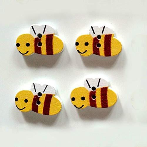 F-blue 50pcs / Pack-Nette Karikatur-Biene Umweltschutz Buttons -