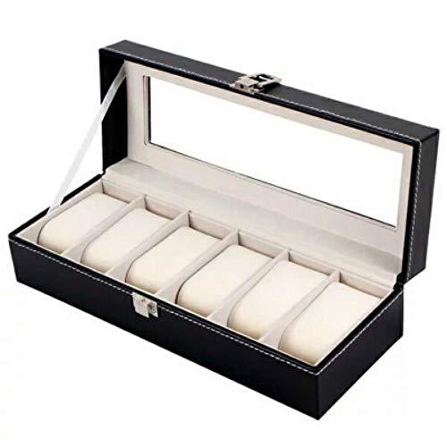 MOTIYR Uhrenbox mit 6 Fächern für Uhren, Sammler und Schmuckkästchen für Armreifen, mit transparentem Fenster, schwarzes Leder