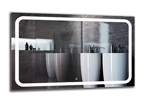 Espejo LED Deluxe - Dimensiones del Espejo 110x70 cm - Interruptor tactil - Espejo de baño con iluminación...