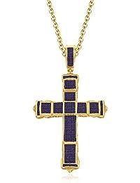 Silvernshine 1CT Round Cut Amethyst Sim Diamonds Jesus Cross Pendant Charm 14K Yellow Gold Finish