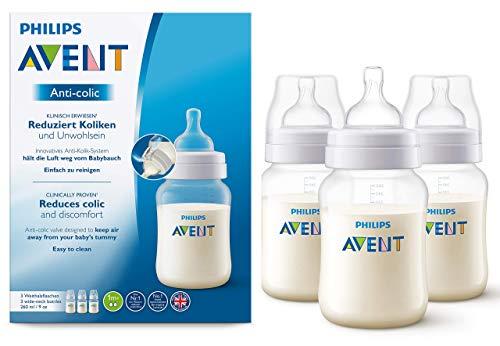 Philips Avent Anti-colic Flasche SCF813/37, 260ml, 3er Pack, mit AirFree Ventil kompatibel, transparent