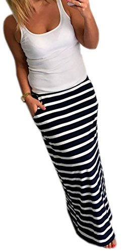 Damen Rock Lang Maxirock Boho Style Sommerrock mit elastischem Bund 36/38/40 (247) (Streifen)
