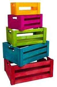 holzkisten 5er set bunt multi color farbenfroh gr n rot blau gelb lila holzbox boxen kisten. Black Bedroom Furniture Sets. Home Design Ideas