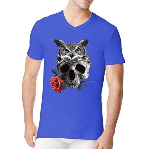 Gothic Fantasy Männer V-Neck Shirt - Eule Schädel Rose by Im-Shirt Royal