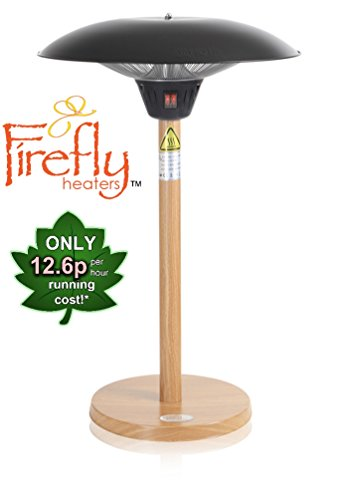 Firefly 2.1KW Tabletop Outdoor Patio Heater with Beech Wood Effect Stand and Base