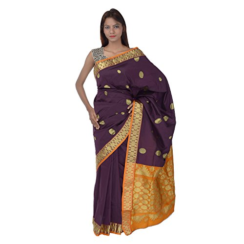 Saundarya Sarees Women South Silk Chanderi Violet Saree