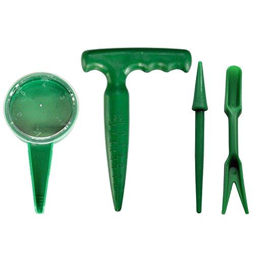 4pcs jardinería portátil mano herramienta kit ajustable semillas de siembra dispensador + pistola Grip plantador + plántulas plantador + Widger