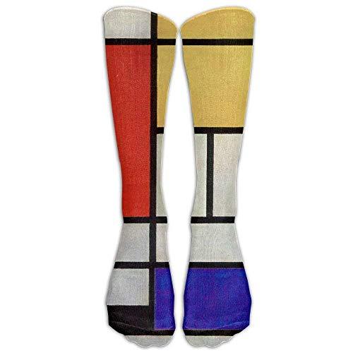 Style Unisex Socks Casual Knee High Stockings Luxury Mondrian Cotton Socks One Size