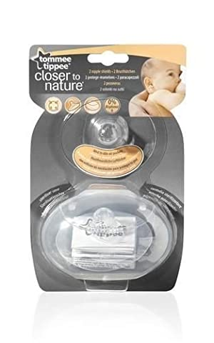 Tommee Tippee Closer to Nature Nipple Shields Protectors Twin 2 Pack with Case, Model: