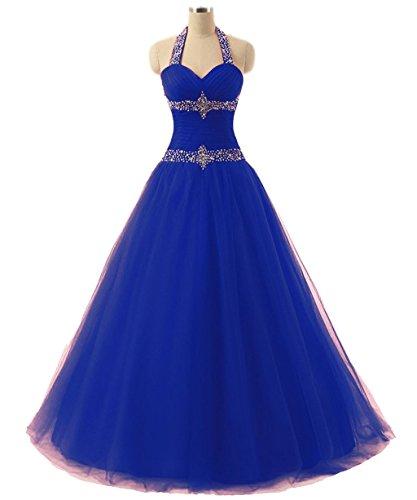 Vantexi Damen Tüll Lang Halfter Ballkleid Partykleid Hochzeitskleider Blau