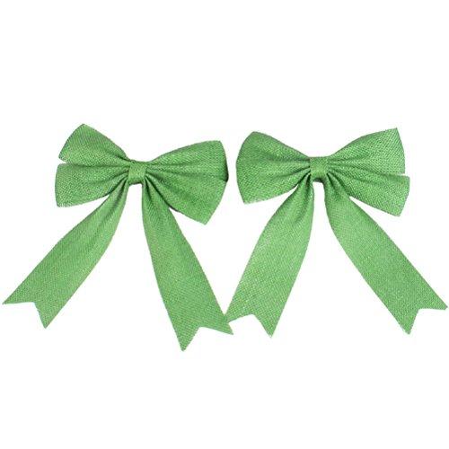 Healifty 2pcs Sackleinen Bowknot Weihnachten Dekor Bögen für Hochzeiten Party Dekoration (grün)