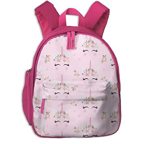 Kinderrucksack mädchen,Einhorn Gesicht Blumen Einhorn Quilt Kinderzimmer Stoff Pink_3434 - charlottewinter, für Kinderschulen Oxford Tuch (pink)