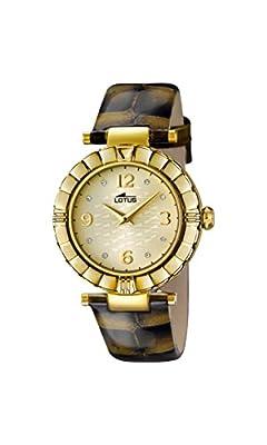 Lotus Reloj de cuarzo para mujer con oro esfera analógica pantalla y correa de piel color marrón 15912/6 de Lotus