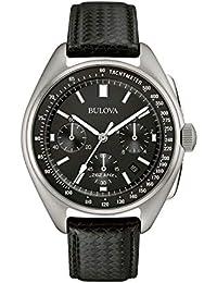 Bulova Pilote Lunaire 96B251 - Montre-bracelet de créateur - pour homme - bracelet en cuir - noir