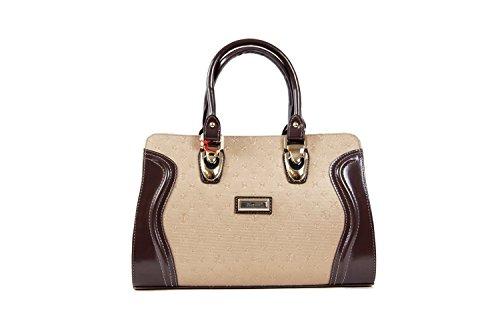 Tasche Abendtasche Damentasche Handtasche Luxus Taymir 2Jahre Garantie ver Farbe(Creme - Braun)