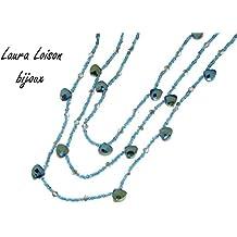 Laura Loison - Collana lunga colore Celeste mare