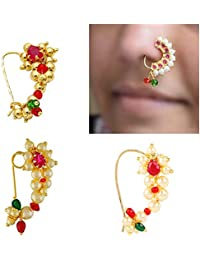 Meenaz Traditional Jewellery Gold Plated Maharashtrian Wedding Combo Nose pin/Nath Nose Ring for women girls (4 pcs) -NATH COMBO-01