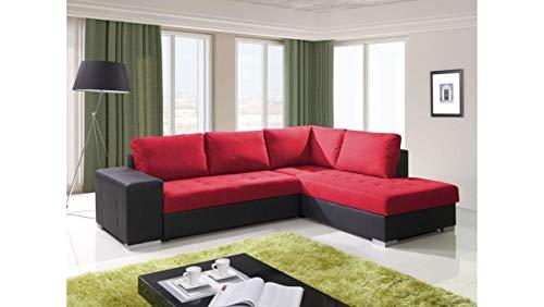 JUSTyou Porto Canapé d'angle en Simili Cuir Noir Rouge (H x l x L): 88 x 212 x 280 cm Angle Droit