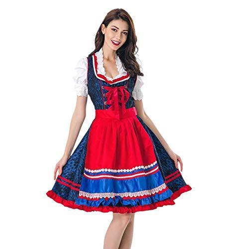 Kostüm Aus Traditionelle Deutschland - Erwachsene Frauen Traditionelles Oktoberfest Kostüm Dirndl Deutschland Bier Kostüm Halloween Party Kostüm@Blau_XL