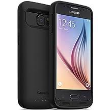 PowerBear Funda de Batería Samsung Galaxy S6 [3500 mAh] Cargador de Batería Externo para el Galaxy S6 (Hasta 1.35X de Batería Extra) - Negro [24 Meses de Garantía y Protector de Pantalla Incluido]