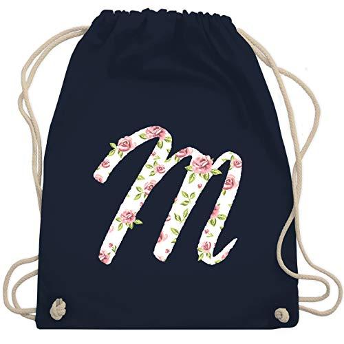 Anfangsbuchstaben - M Rosen - Unisize - Navy Blau - WM110 - Turnbeutel & Gym Bag
