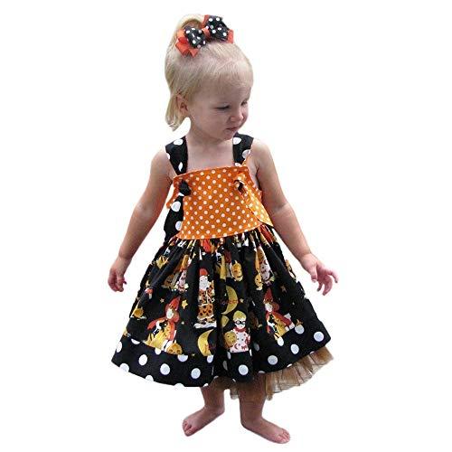 Baby Kinder Mädchen Ärmellos Kürbis Drucken Kleid Prinzessin Kostüm Kinder Glanz Kleid Halloween Verkleidung Karneval Party Halloween Fest von Innerternet