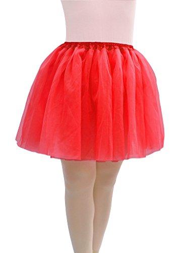 Übergröße Kostüm Ballerina - Dancina Damen Tutu Tuetue Tüllrock Pettiskirt Übergröße [Sticker XXL] Rot Gr. 42-46